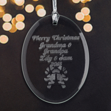 Personalized Laser Etched Candy Cane Glass Ornament