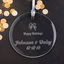 Personalized Engraving Candy Cane Round Glass Ornament