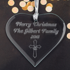 Personalized Engraved Christmas Cross Heart Shaped Ornament