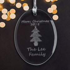Personalized Laser Etched Christmas Tree Glass Ornament