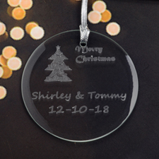 Personalized Engraving Christmas Tree Round Glass Ornament