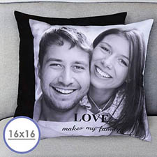 16 X 16 Photo Gallery Personalized Pillow (Black Back) Cushion (No Insert)