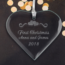 Personalized Engraved Hearts Of Love Heart Shaped Ornament