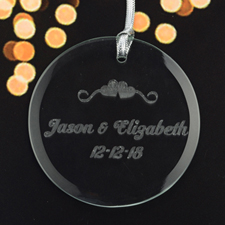Personalized Engraving Swirl Hearts Of Love Round Glass Ornament