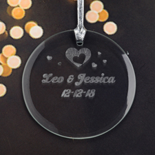 Personalized Engraving Hearts Of Love Round Glass Ornament