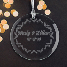 Personalized Engraving Holly Round Glass Ornament