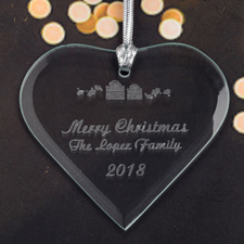 Personalized Engraved Christmas Present Heart Shaped Ornament