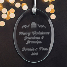 Personalized Laser Etched Christmas Present Glass Ornament