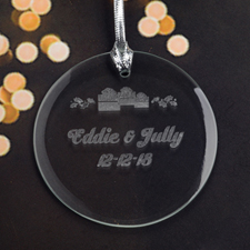 Personalized Engraving Christmas Present Round Glass Ornament
