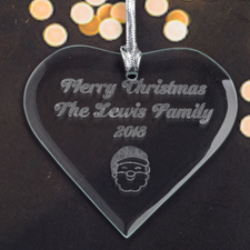 Personalized Engraved Santa Heart Shaped Ornament