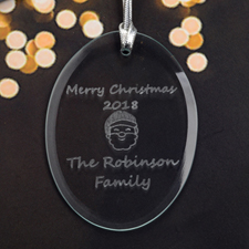 Personalized Laser Etched Santa Glass Ornament