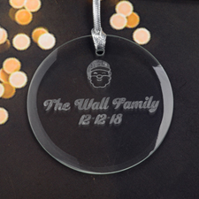 Personalized Engraving Santa Round Glass Ornament