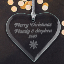 Personalized Engraved Snowflakes Heart Shaped Ornament