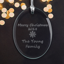 Personalized Laser Etched Snowflake Glass Ornament