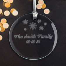 Personalized Engraving Little Snowflake Round Glass Ornament