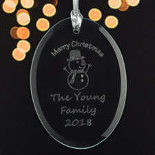 Personalized Laser Etched Snowman Glass Ornament