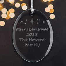 Personalized Laser Etched Star Glass Ornament