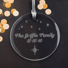 Personalized Engraving Little Stars Round Glass Ornament