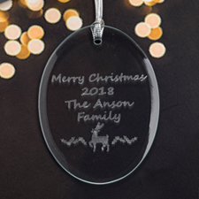 Personalized Laser Etched Reindeer Glass Ornament