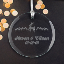 Personalized Engraving Reindeer Round Glass Ornament