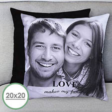 20 X 20 Photo Gallery Personalized Pillow (Black Back) Cushion (No Insert)