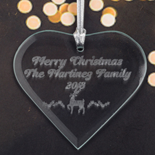 Personalized Engraved Reindeer Heart Shaped Ornament