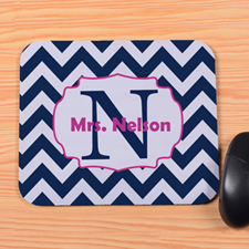 Personalized Navy And Pink Chevron Mouse Pad