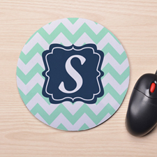 Custom Printed Aqua Chevron Design Mouse Pad