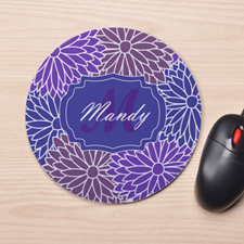 Custom Printed Plum Floral Design Mouse Pad