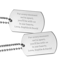 Miss You Engraved Message Dog Tag Pendant