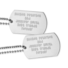 Best Friends Forever Engraved Message Dog Tag Pendant