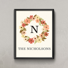 Fall Floral Wreath Personalized Poster Print, Small 8.5