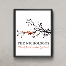 Family Tree Four Orange Birds Personalized Poster Print, Small 8.5