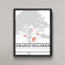 Grey Family Tree Five Birds Personalized Poster Print, Small 8.5