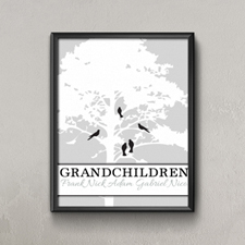 White Family Tree Five Birds Personalized Poster Print, Small 8.5