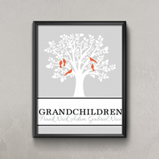 Family Tree Five Orange Birds Personalized Poster Print Small 8.5