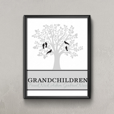 Family Tree Five Black Birds Personalized Poster Print Small 8.5