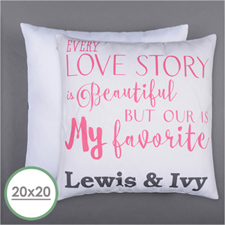 Love Story Personalized Pillow 20 Inch  Cushion (No Insert)