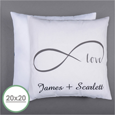 Infinity Love Personalized Pillow 20 Inch  Cushion (No Insert)