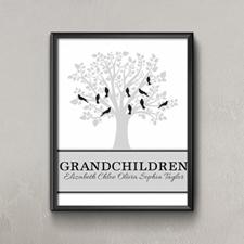 Family Tree Ten Grey Birds Personalized Poster Print