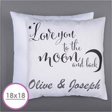 Love You To The Moon Personalized Pillow Cushion (18 Inch) (No Insert)