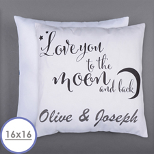 Love You To The Moon Personalized Pillow 16 Inch  Cushion (No Insert)