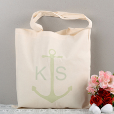 Mint Anchor Personalized Cotton Tote Bag