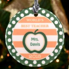 Polka Dots Teacher Personalized Ceramic Ornament