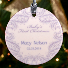 Lavender Baby Floral Personalized Ceramic Ornament