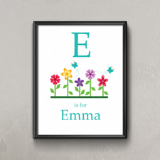 Flower Personalized Poster Print For Kids, Small 8.5