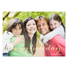 Script Gold Foil Personalized Photo Christmas Card, 5X7