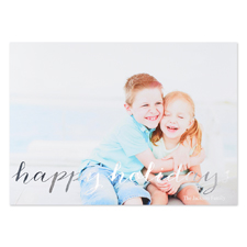 Script Silver Foil Personalized Photo Christmas Card, 5X7