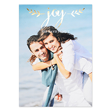 Create Your Own Script Joy Personalized Photo Foil Card Gold