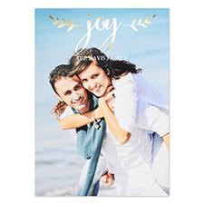 Script Joy Personalized Photo Foil Card Gold